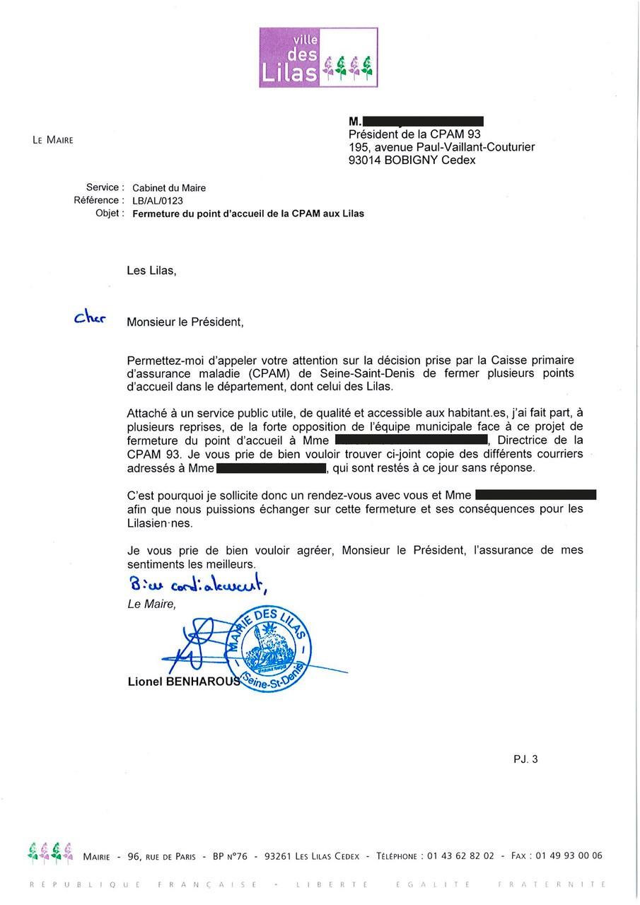Courrier du Maire au Président de la CPAM 93